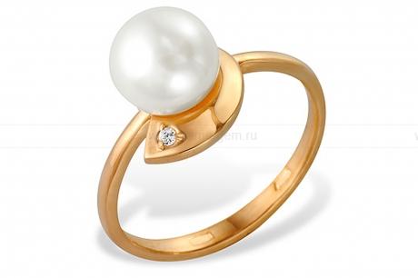 Кольцо из красного золота с белой жемчужиной 7-7,5 мм. Артикул 9342