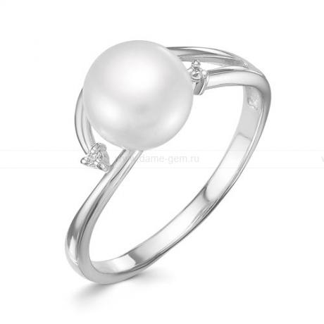 Кольцо из белого золота с белой жемчужиной 8,5-9 мм. Артикул 9343