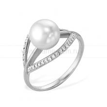 Кольцо из белого золота с белой жемчужиной 7-7,5 мм. Артикул 9346