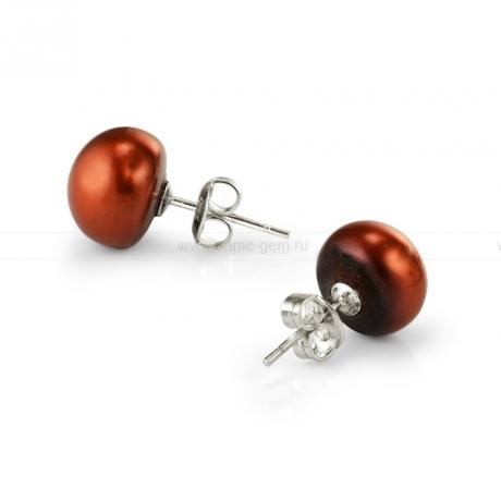 Пусеты из серебра с шоколадными жемчунами 9,5-10 мм. Артикул 9372