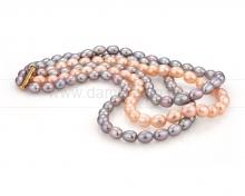 """Ожерелье в 3 ряда """"микс"""" из рисообразного речного жемчуга 10-11 мм. Артикул 9382"""