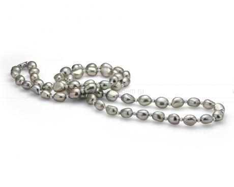 Ожерелье из серого барочного жемчуга со вставками из серебра. Артикул 9389