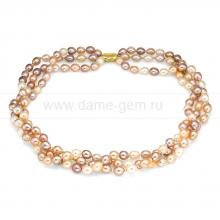"""Ожерелье """"микс"""" в 3 ряда из рисообразного речного жемчуга 7,5-8 мм. Артикул 9390"""