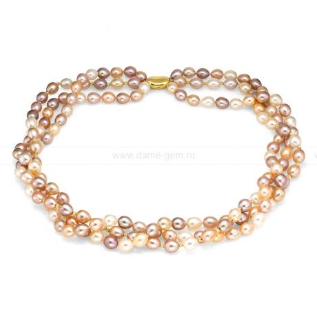 Ожерелье в три ряда из розового рисообразного жемчуга. Размер жемчужин 7,5-8 мм.