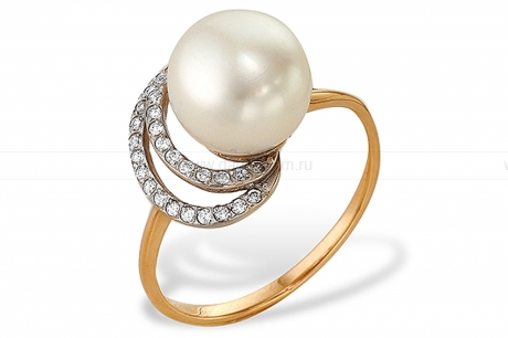 Кольцо из серебра с белой жемчужиной 8,5-9 мм. Артикул 9430