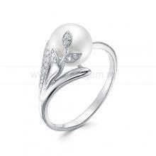 Кольцо из серебра с белой жемчужиной 9,5-10 мм. Артикул 9433