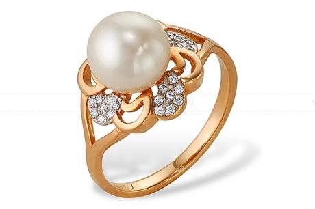 Кольцо из серебра с белой жемчужиной. Артикул 9434