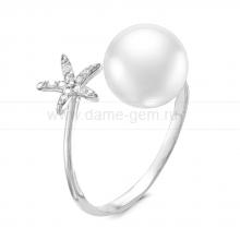 """Двойное кольцо """"Dior"""" с белой жемчужиной 9,5-10 мм. Артикул 9436"""