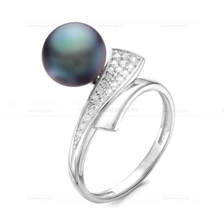 Кольцо из серебра с черной речной жемчужиной. Артикул 9440