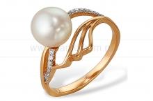 Кольцо из серебра с белой жемчужиной. Артикул 9441
