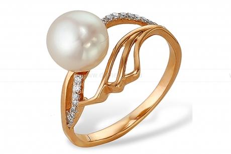 Кольцо из серебра с белой жемчужиной 7,5-8 мм. Артикул 9441