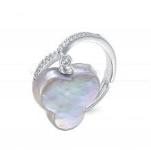Кольцо из серебра с серой барочной жемчужиной 14 мм. Артикул 9443