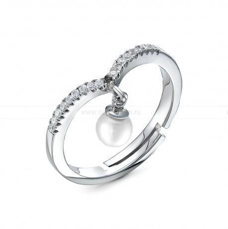 Кольцо из серебра с белой жемчужиной 4,5-5 мм. Артикул 9445