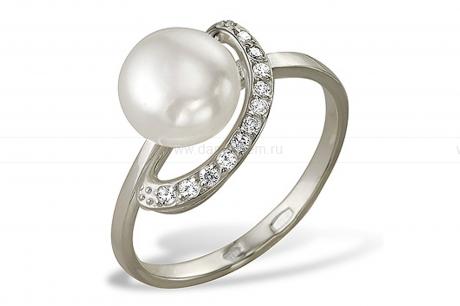 Кольцо из серебра 925 пробы с белой жемчужиной 6-6,5 мм. Артикул 9449