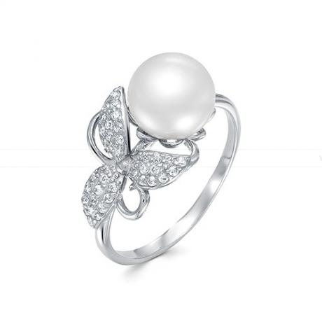 Кольцо из серебра с белой жемчужиной 9,5-10 мм. Артикул 9451