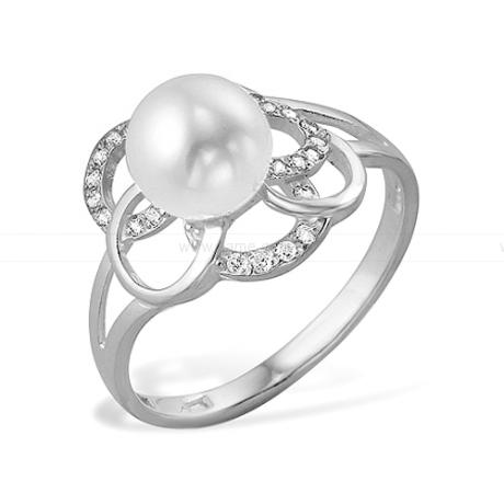 Кольцо из серебра с белой жемчужиной 8-8,5 мм. Артикул 9452