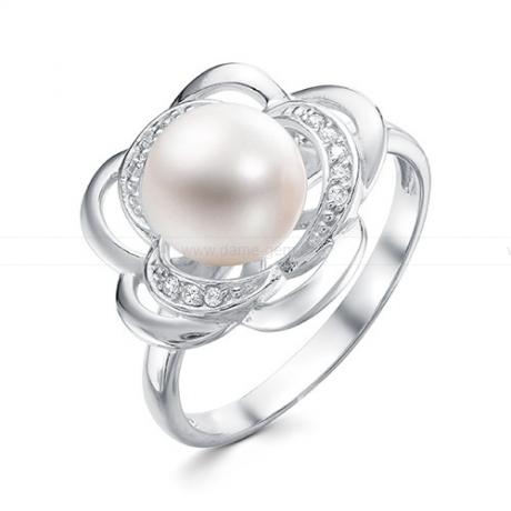 Кольцо из серебра с белой жемчужиной 8,5-9 мм. Артикул 9453