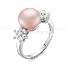 Кольцо из серебра с розовой жемчужиной. Артикул 9458