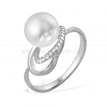 Кольцо из серебра с белой жемчужиной 8-8,5 мм. Артикул 9459