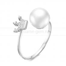 "Двойное кольцо ""Dior"" с белым жемчугом 8,5-9 мм. Артикул 9461"