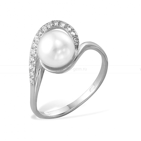 Кольцо из серебра с белой жемчужиной 7,5-8 мм. Артикул 9462