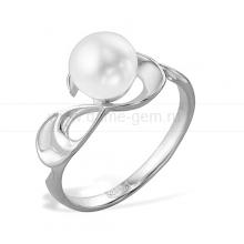Кольцо из серебра с белой жемчужиной 8-8,5 мм. Артикул 9463