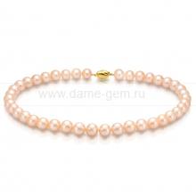Колье (ожерелье) из персикового круглого речного жемчуга. Артикул 9479