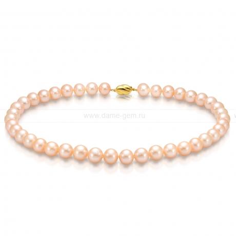 Ожерелье из персикового круглого речного жемчуга 10,5-11,5 мм. Артикул 9479