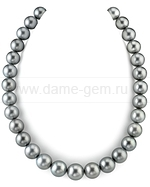 Колье (ожерелье) из серебристого Таитянского морского жемчуга. Артикул 9484