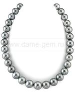 Ожерелье из серебристого круглого морского Таитянского жемчуга 10,3-12,7 мм. Артикул 9484