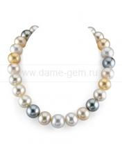 """Ожерелье """"микс"""" из морского Австралийского и Таитянского жемчуга 10-12,1 мм. Артикул 9492"""