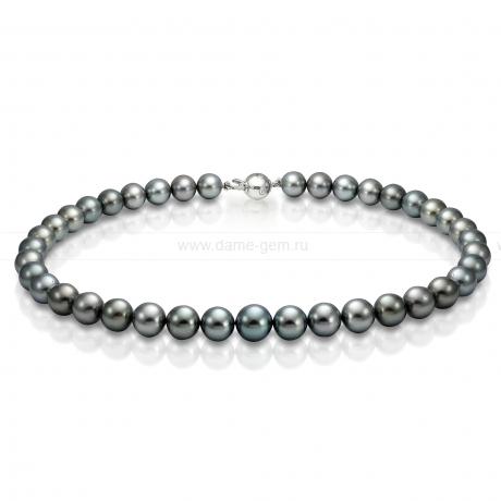 Ожерелье из черного круглого морского Таитянского жемчуга 10-12,3 мм. Артикул 9498