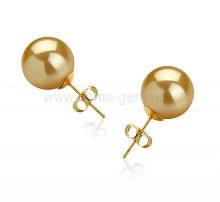 Пусеты из золота с золотистыми жемчужинами Акойя 7,5-8 мм. Артикул 9506