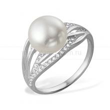 Кольцо из белого золота с белой жемчужиной 8,5-9 мм. Артикул 9540