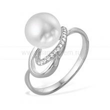 Кольцо из золота с белой жемчужиной. Артикул 9542