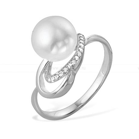 Кольцо из белого золота с белой жемчужиной 8,5-9 мм. Артикул 9542