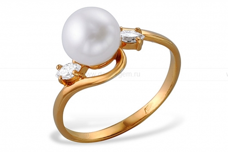 Кольцо из красного золота с белой жемчужиной 8-8,5 мм. Артикул 9545