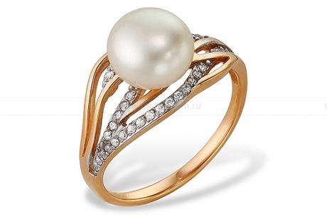 Кольцо из красного золота с белой жемчужиной 8-9 мм. Артикул 9547