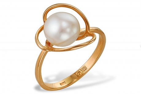 Кольцо из красного золота с белой жемчужиной 8,5-9 мм. Артикул 9550