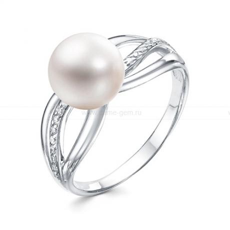 Кольцо из белого золота с белой жемчужиной 8,5-9 мм. Артикул 9551