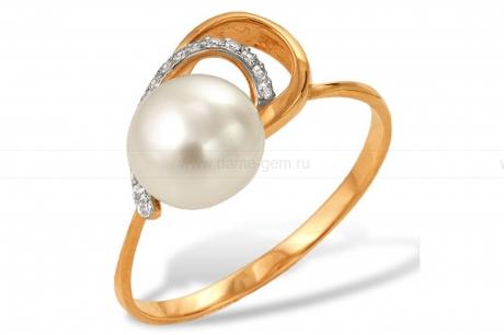Кольцо из красного золота с белой жемчужиной 7-7,5 мм. Артикул 9552