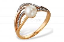 Кольцо из золота с белой жемчужиной. Артикул 9553
