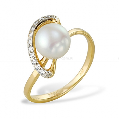 Кольцо из желтого золота с белой жемчужиной 7,5-8 мм. Артикул 9556
