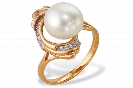 Кольцо из красного золота с белой жемчужиной 8,5-9 мм. Артикул 9557