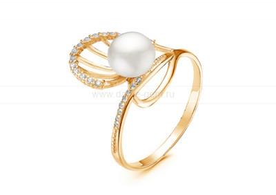 Кольцо из серебра с белой жемчужиной 7-7,5 мм. Артикул 9558