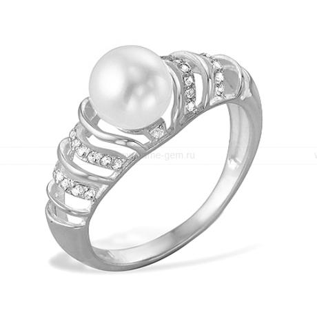 Кольцо из серебра с белой жемчужиной 8,5-9 мм. Артикул 9559