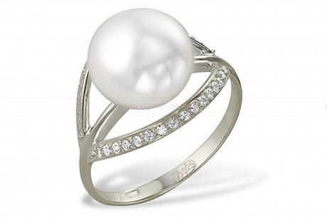 Кольцо из серебра с белой жемчужиной 10,5-11 мм. Артикул 9561