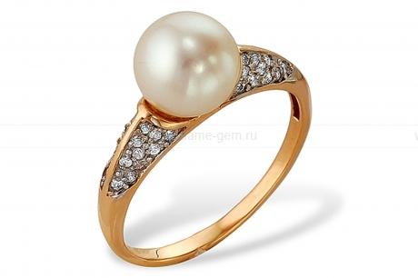 Кольцо из серебра 925 пробы с белой жемчужиной 8,5-9 мм. Артикул 9594