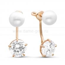 """Двойные пусеты """"Dior"""" с белым речным жемчугом. Артикул 9617"""
