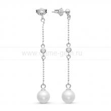 Длинные серьги из серебра с белыми жемчужинами 7-7,5 мм. Артикул 9621